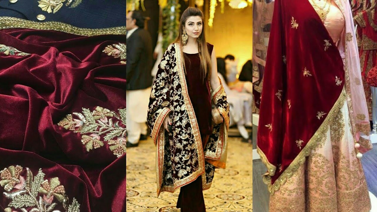 Velvet Embroidered Shawls In Winters