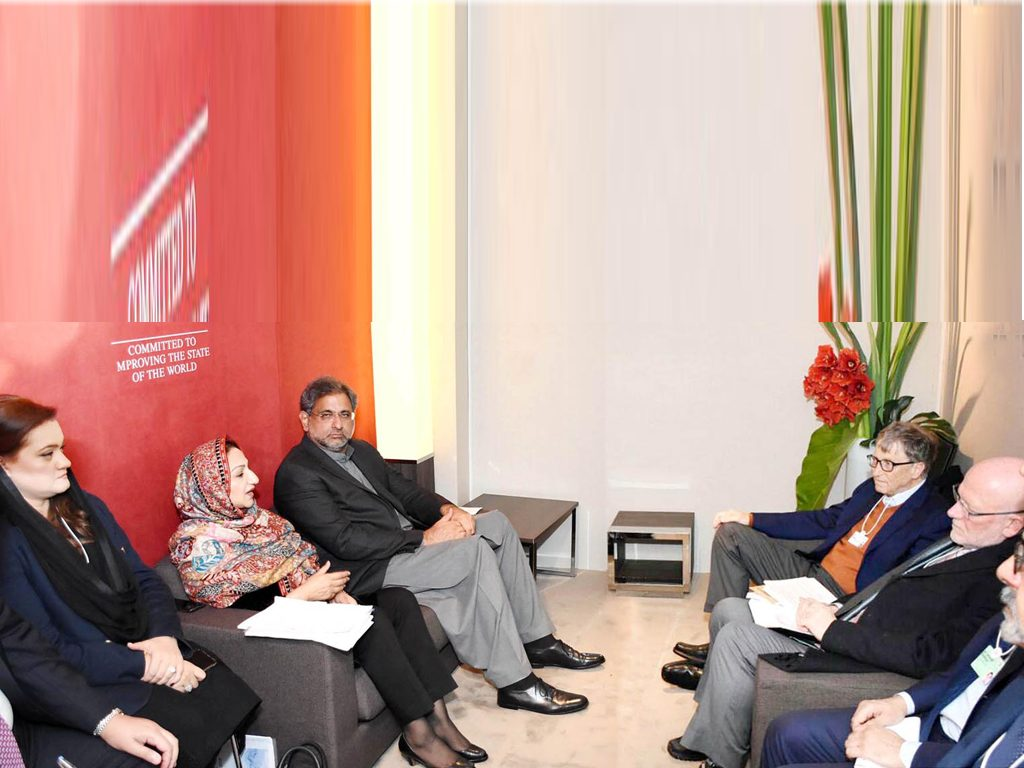 PM Abbasi and Bill Gates meeting at the World Economic Forum
