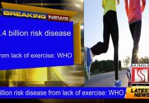 1.4 billion risk disease from lack of exercise: WHO