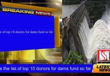 Here's the list of top 10 donors for dams fund so far